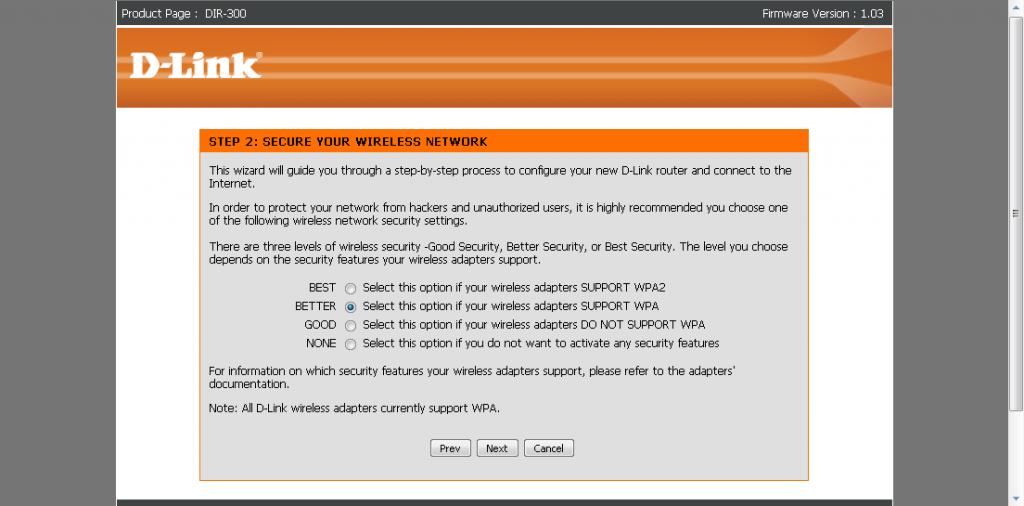 DIR-300. Выбор типа шифрования сети.