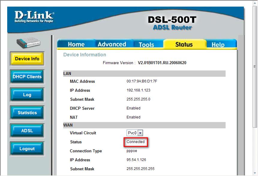 Настройка модема ADSL. Статус.