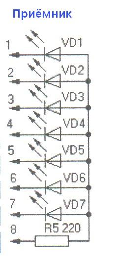 Схема кабельного тестера. Приёмник.