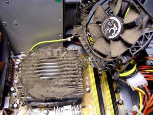 Кулер процессора загрязнен.