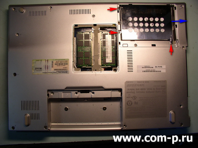 Ноутбук Sony Vaio VGN-FZ160E. Снятие жесткого диска..