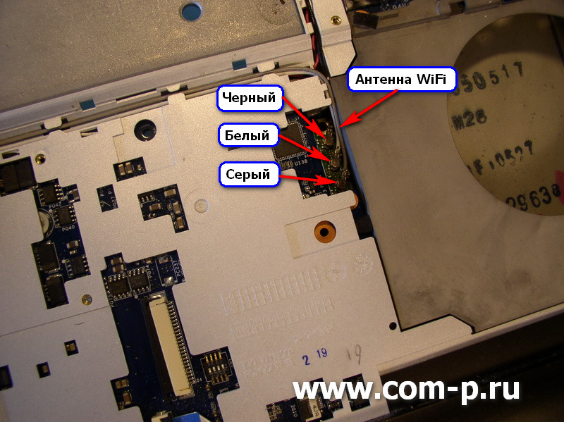 Ноутбук Sony Vaio VGN-FZ160E. Отсоединение антенны адаптера WiFi..