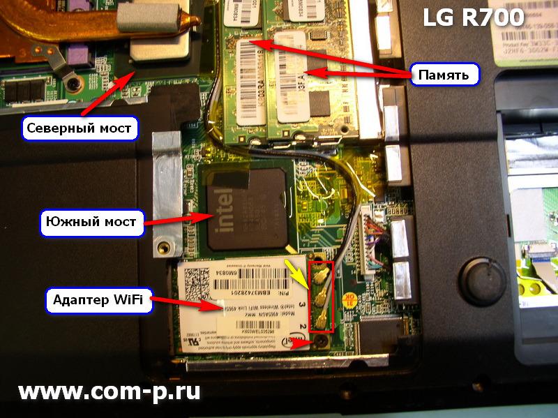 Ноутбук LG R700 со снятыми крышками.
