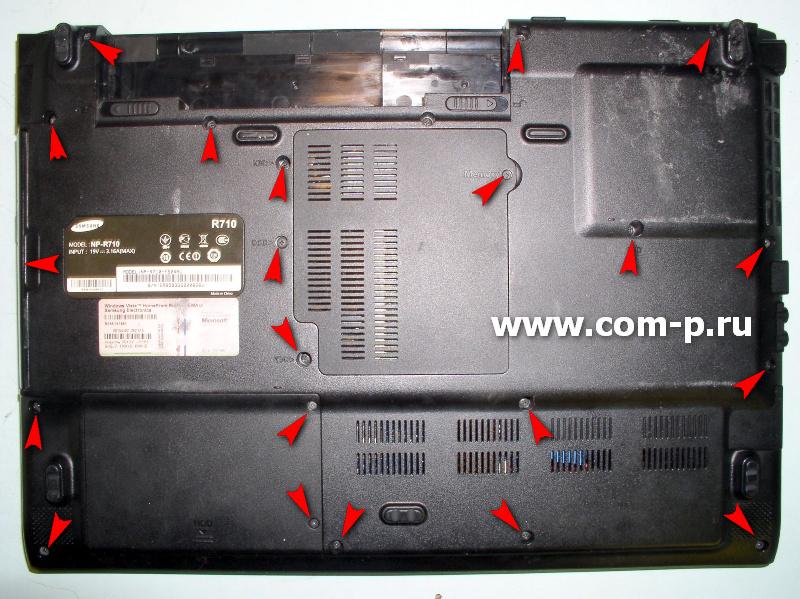 Разборка ноутбука Samsung R710.